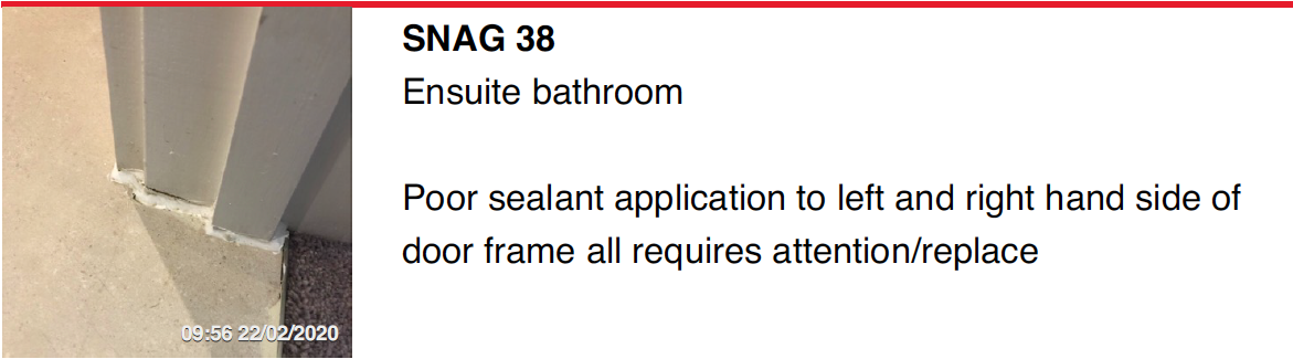 Ensuite bathroom seal